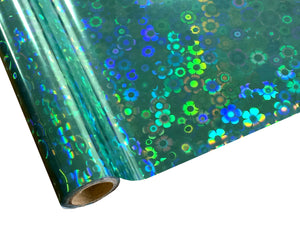 Flower Power Teal Hologram Foil
