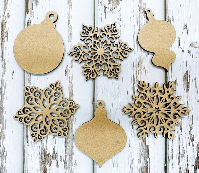 Christmas Ornaments & Snowflakes - Wooden Cutouts