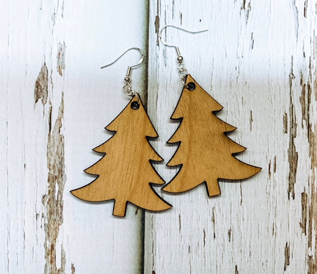 Christmas Tree Earrings - Wooden Cutout