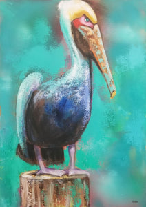 Pelican on Piling II By Naydene Gonnella