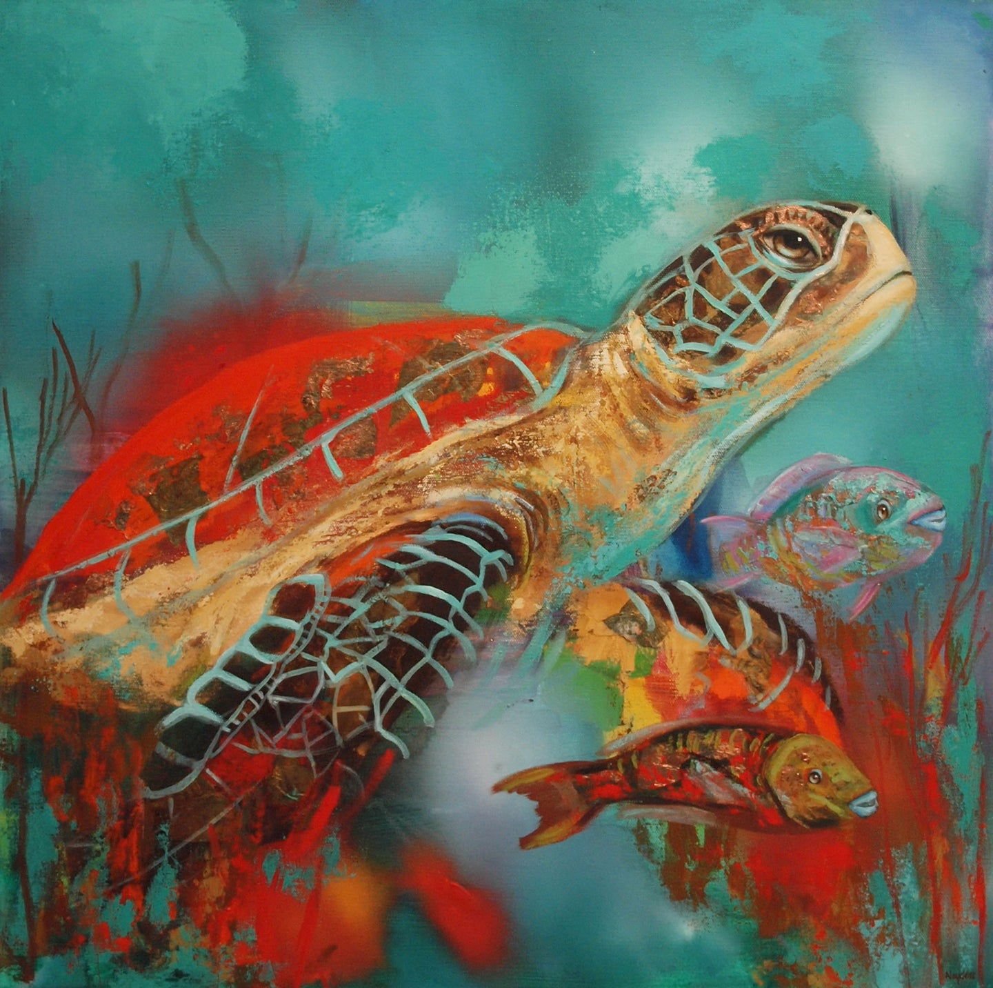 Turtle with Fish Facing Right By Naydene Gonnella