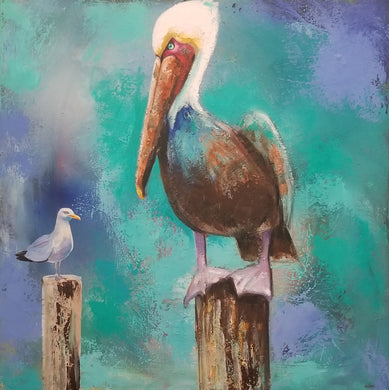 Pelican and friend I By Naydene Gonnella