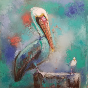 Pelican and friend II By Naydene Gonnella