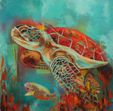 Turtle with Fish Facing Left By Naydene Gonnella