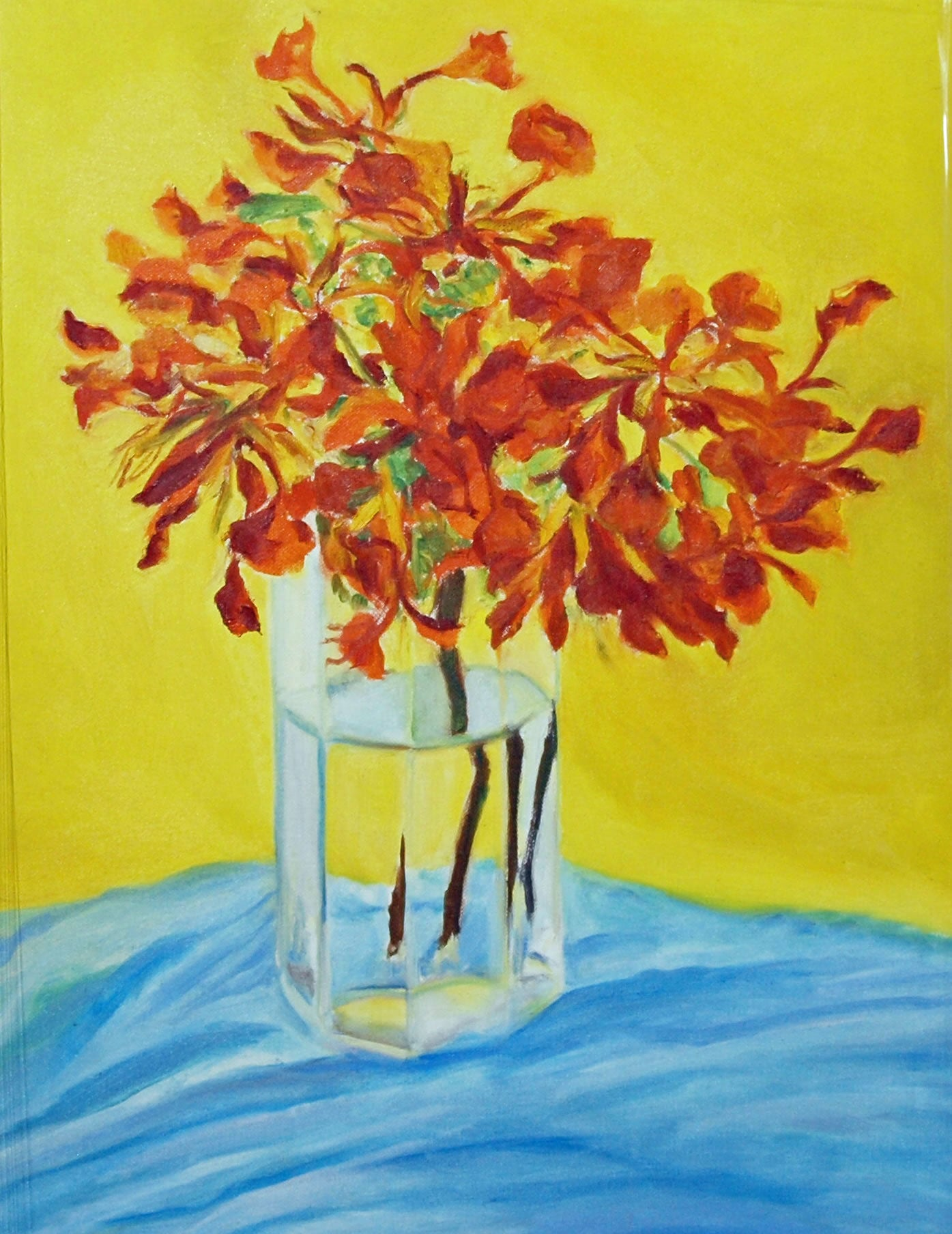 Flamboyant Bouquet in Red, Yellow, Blue By Sir Roland Richardson