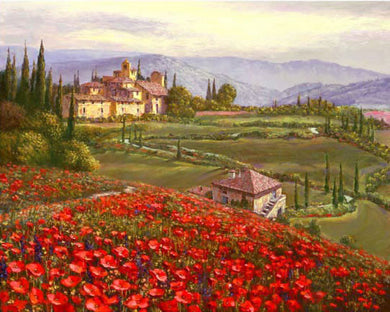 Tuscany Red Poppies By Sung Sam Park