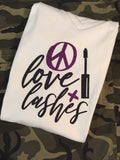 """Peace Love & Lashes"" Glitter Tee"