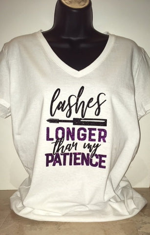 """Lashes & Patience"" Glitter Tee"