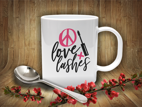 'Peace, Luv & Lashes' Coffee Mug