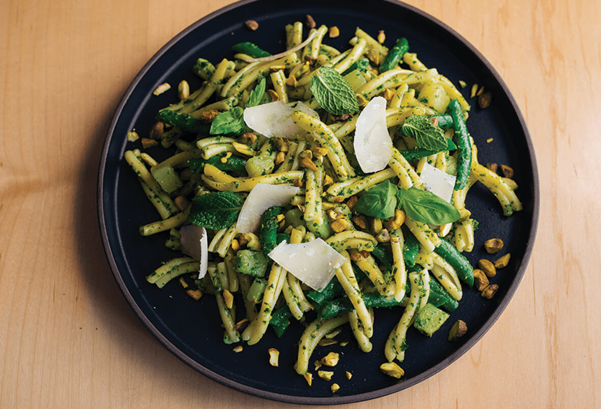 Pistachio Pesto Pasta with Mint and Basil