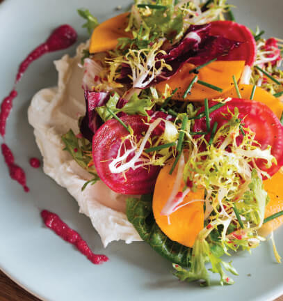Green Salad with Broken Beet Vinaigrette