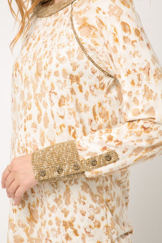Leopard Top with Gold Button Cuff Details