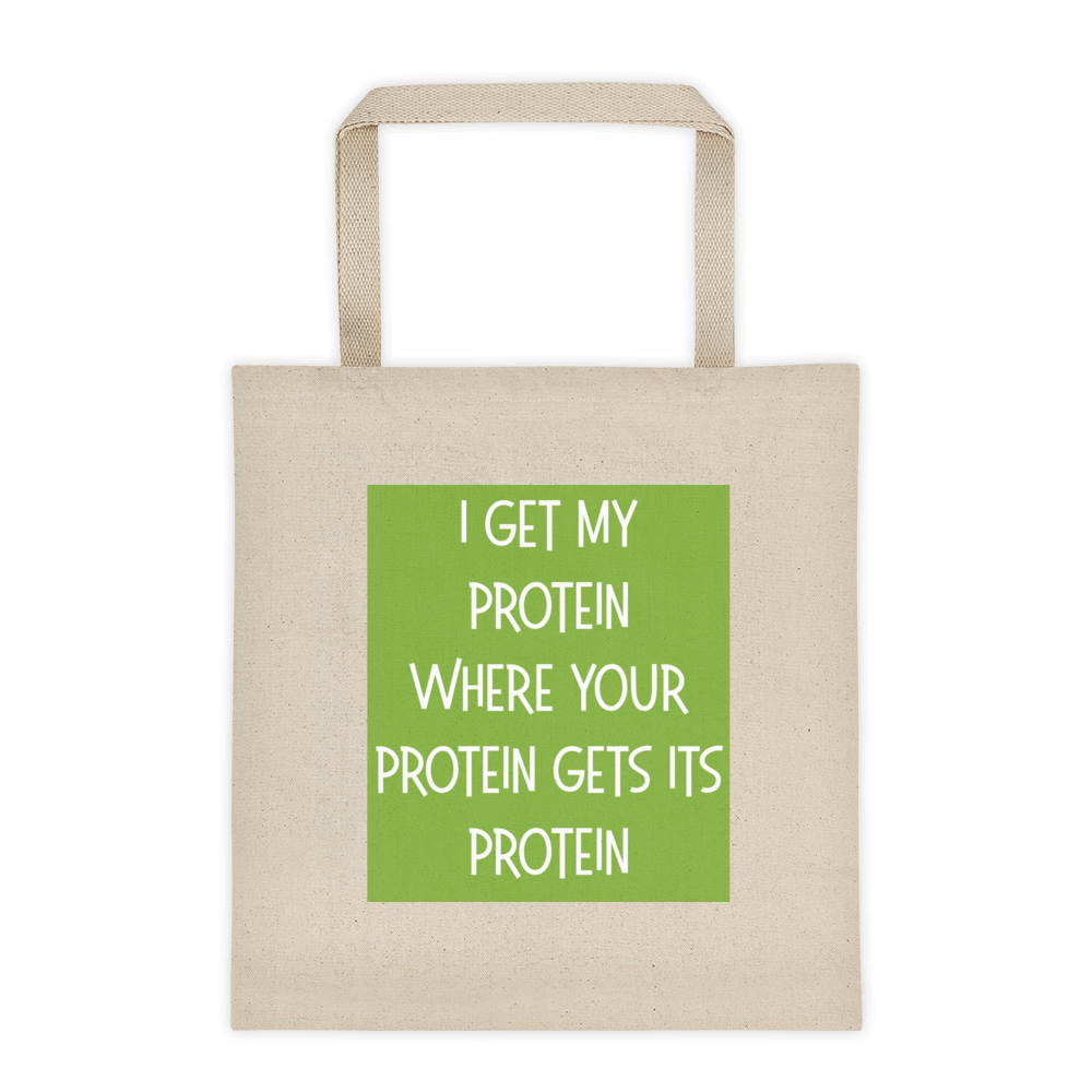 I Get My Protein canvas tote