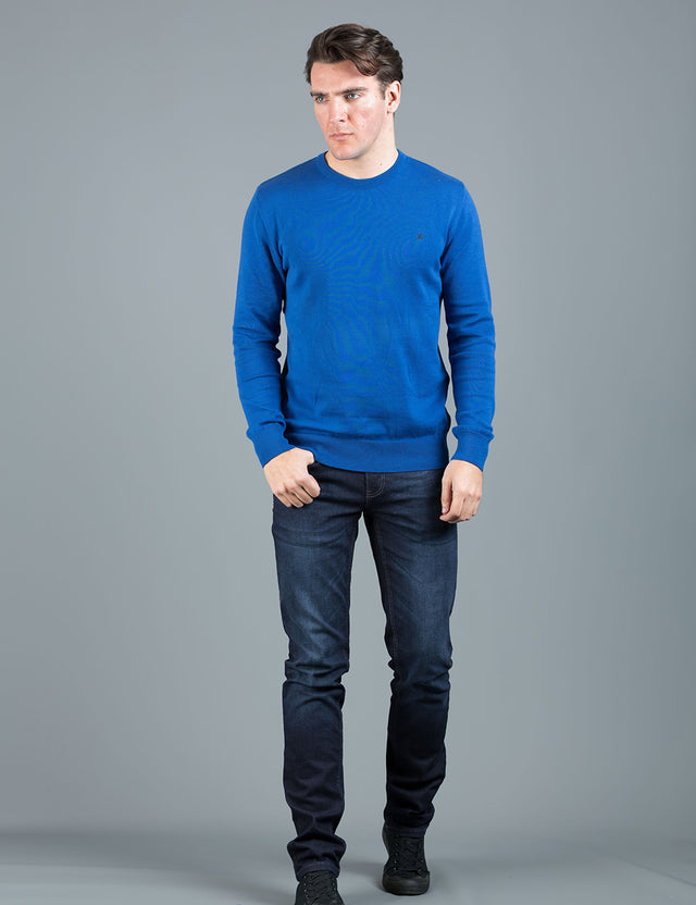 ARIANA COBALT CREW KNIT COTTON