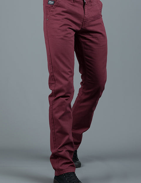 JONNIE BURGUNDY SLIM FIT  CHINO