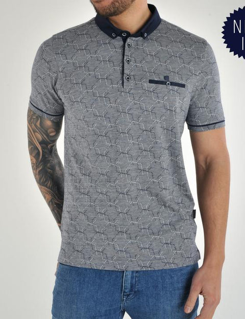 navy short sleeve polo top