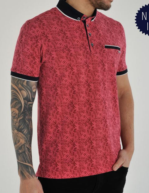 Denva red short sleeve polo