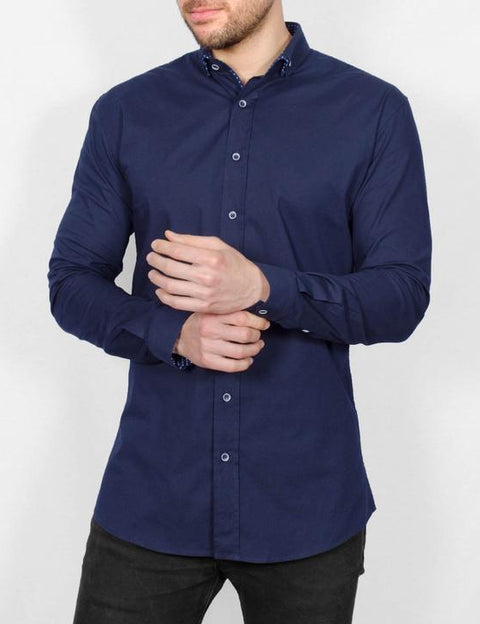 Dotty long sleeve  navy shirt