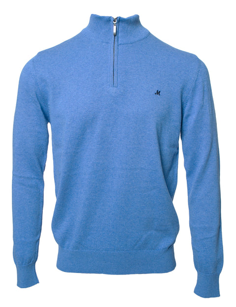 ALTIS MID BLUE ZIP NECK KNITWEAR