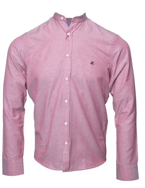 BUDA RED MARL LONG SLEEVE GRANDAD SHIRT