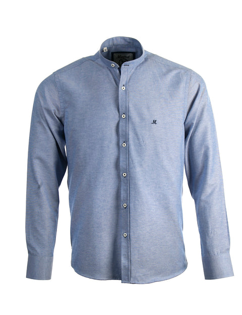 BUDA DENIM BLUE LONG SLEEVE GRANDAD SHIRT