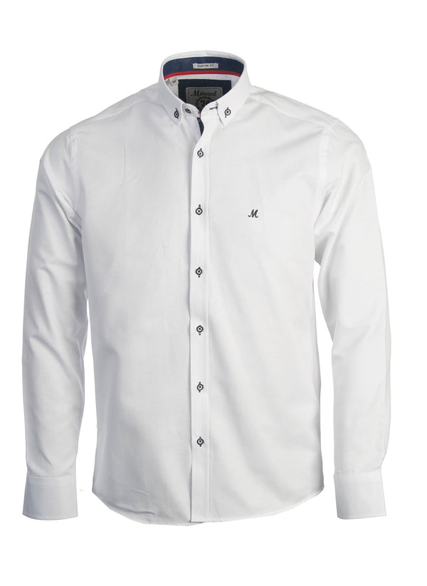 LOLLAND WHITE OXFORD LONG SLEEVE SHIRT