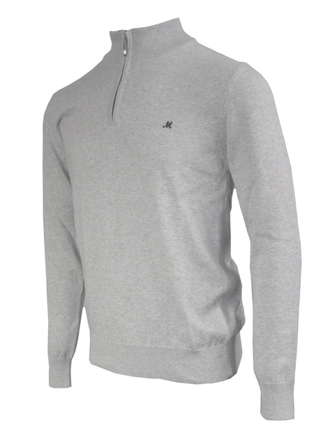 ALTIS OPTIC GREY QUARTER-ZIP KNITWEAR