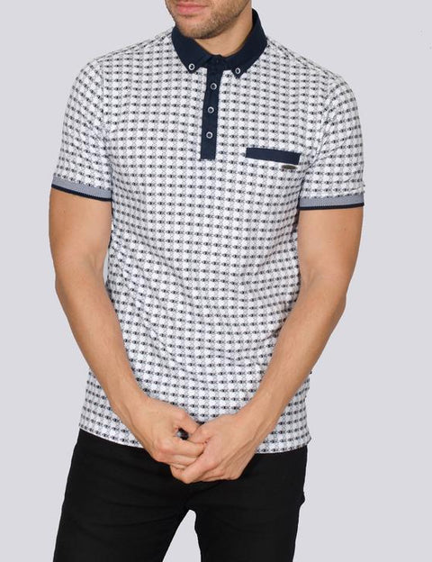 white polo with navy print