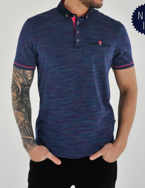 navy polo top with pink trim