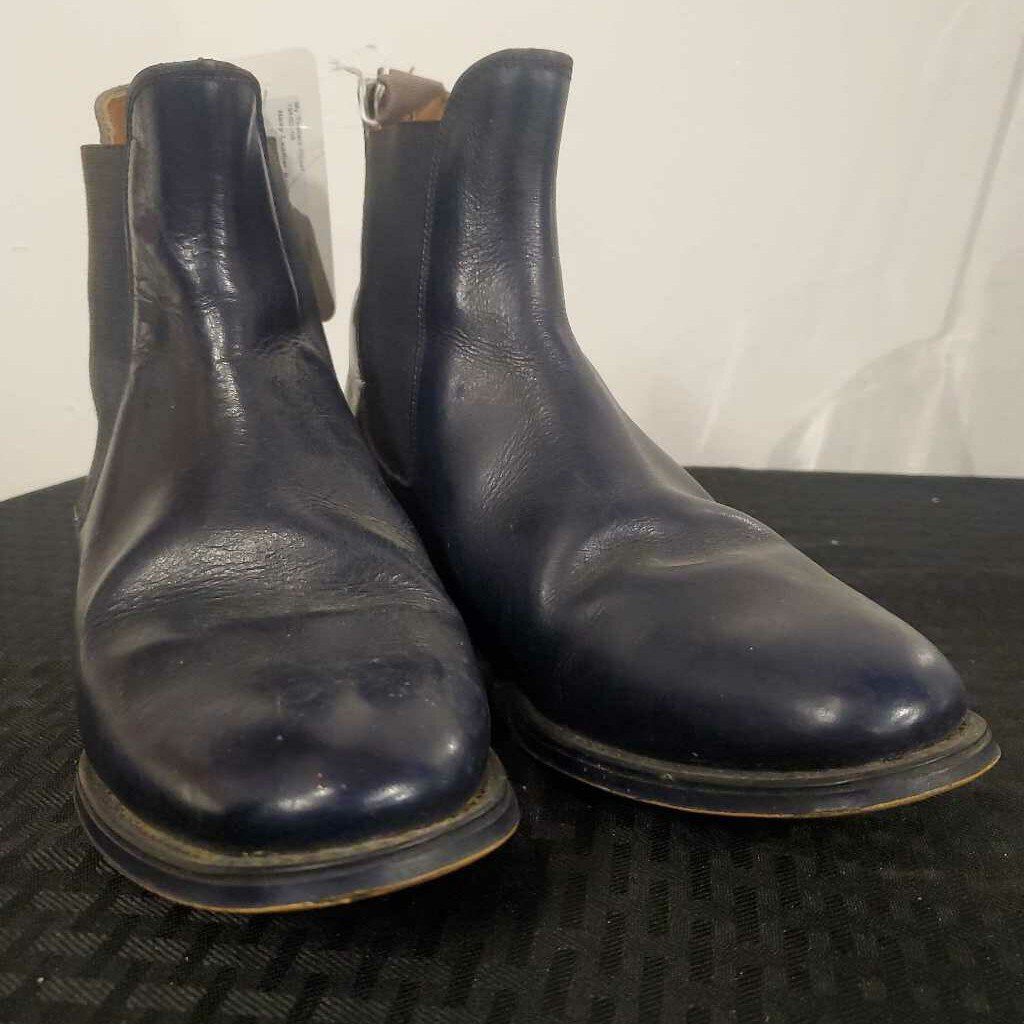 Navy Leather Boots 7