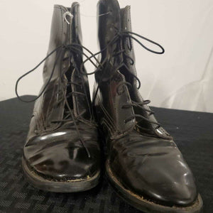 Black Patent Lace up Boots 6 1/2