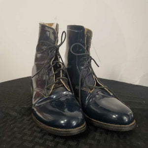 Navy Lace up Patent Leather Boot 4