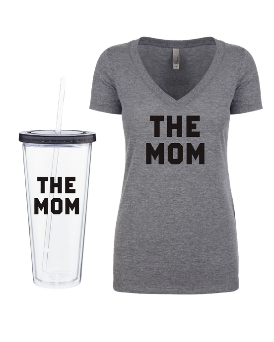 The Mom Tumbler + V-Neck Bundle