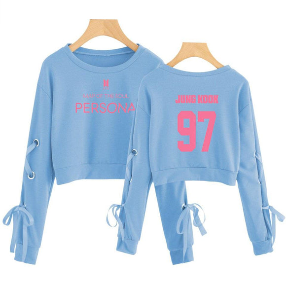BTS Map Of The Soul Persona Ribbon Sleeve Crop Top Blue
