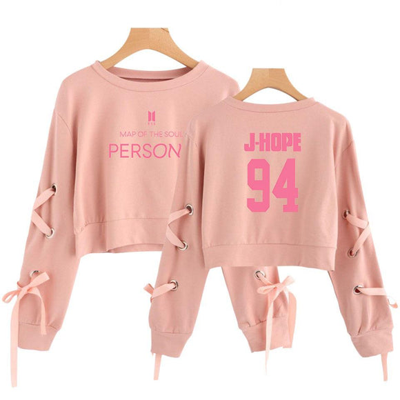 BTS Map Of The Soul Persona Ribbon Sleeve Crop Top Pink