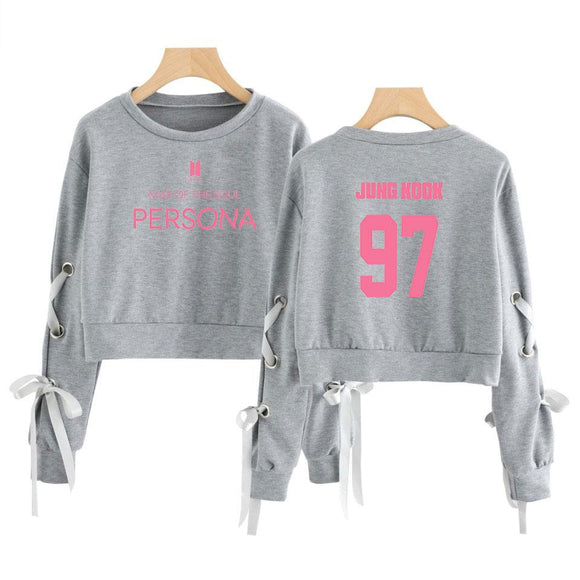 BTS Map Of The Soul Persona Ribbon Sleeve Crop Top Gray