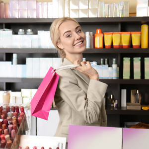 A young woman shopping for natural products in a beauty store.
