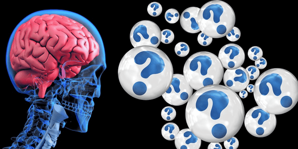 A scientific image of a human brain and question marks symbolizing the connection between cold sores and Alzheimer's disease.