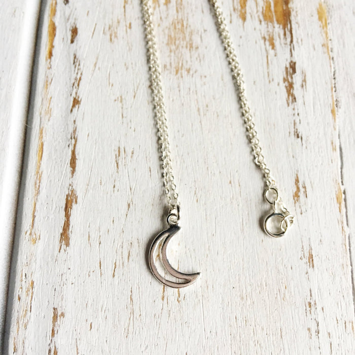 Sterling Silver Crescent Moon Charm Necklace Spocket App