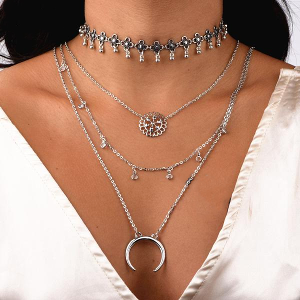 Multilayer Moon Stone Chain Necklace