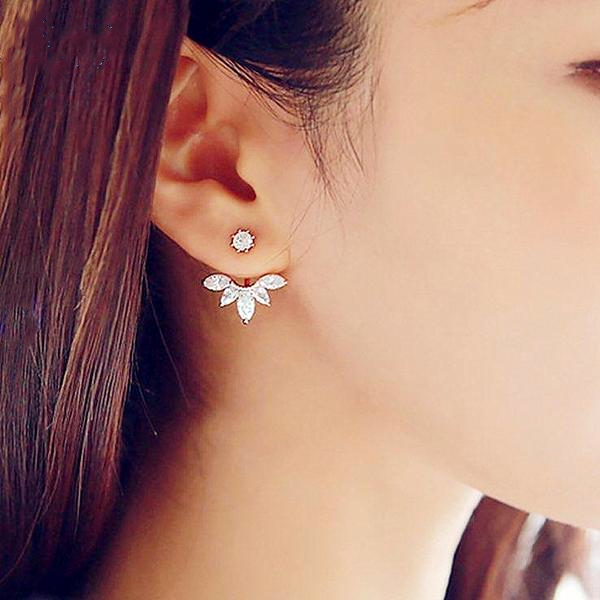 Stone Flower Stud Earring