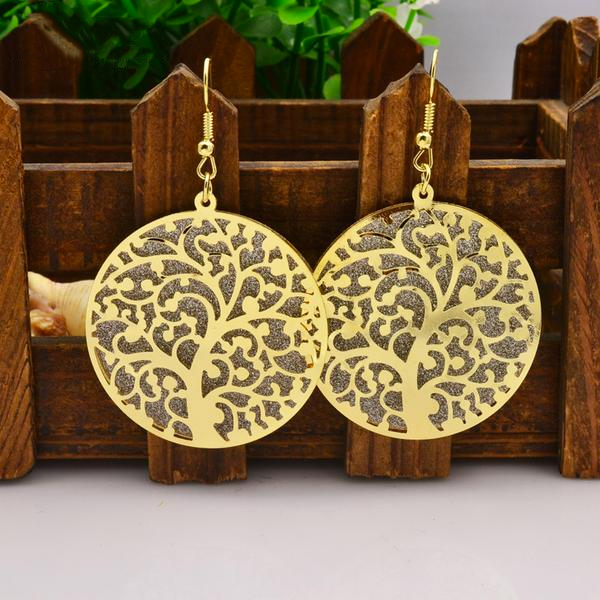 Hollow Round Tree Dangle Earring