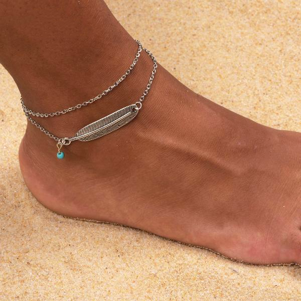 Double Layer Chain Leaf Anklet