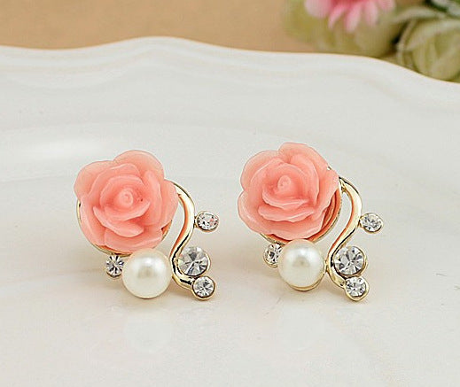 Pearl Rose Earrings