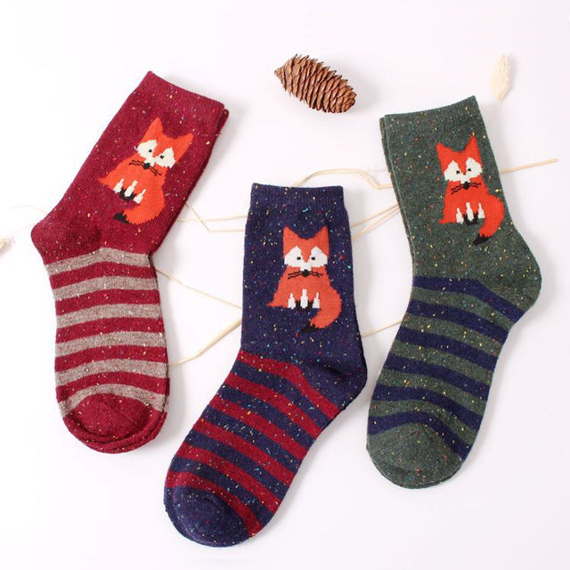 3 Pair Foxy Animals Woollen Socks