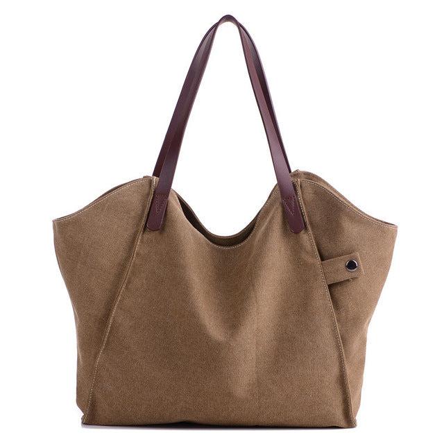 Canvas Shoulder Slouch Tote Bag