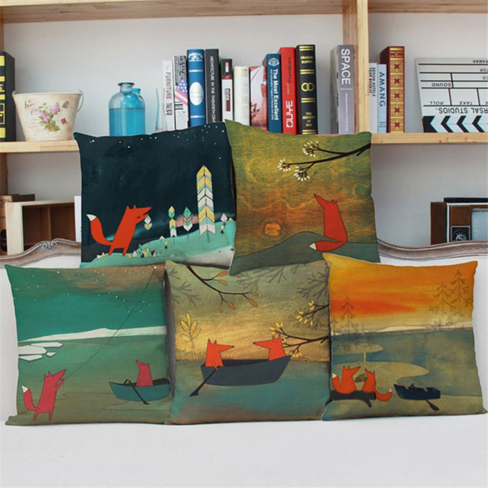 Red Fox Decorative Cushion Covers