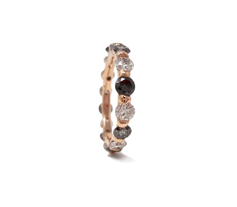 Eternity diamond band with alternating Grey Diamonds, Salt and Pepper Diamonds, and perfect SI Brilliant cut diamonds, set in 18kt Rose Gold.