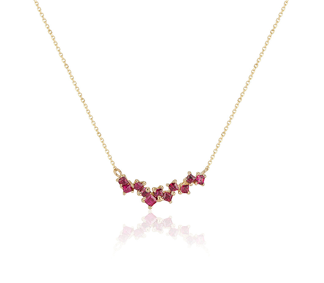 Staggered Ruby Necklace Jayne Moore yellow gold ruby pendant