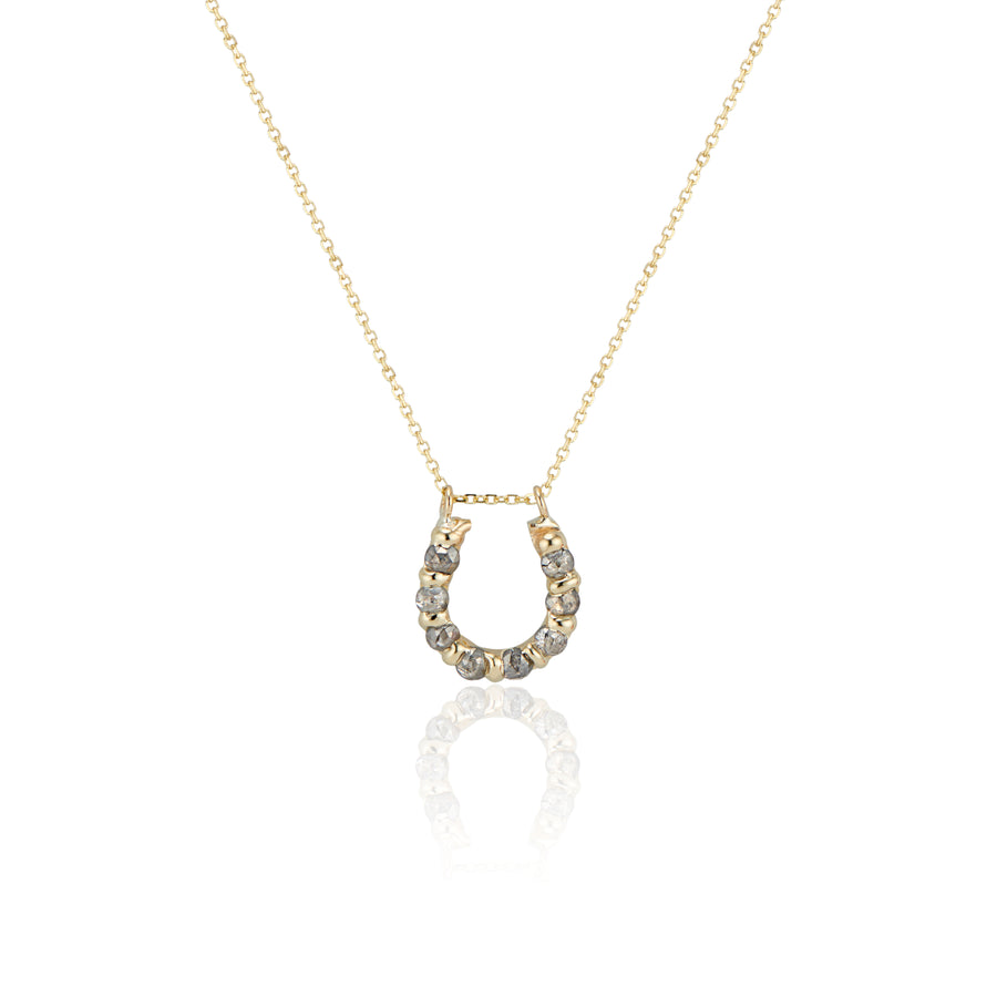 Grey Diamond Horseshoe Pendant